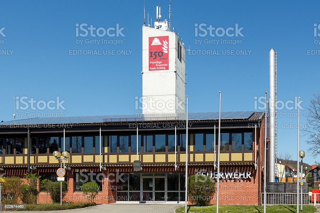 Building of the voluntary fire brigade in Amberg, Germany stock photo