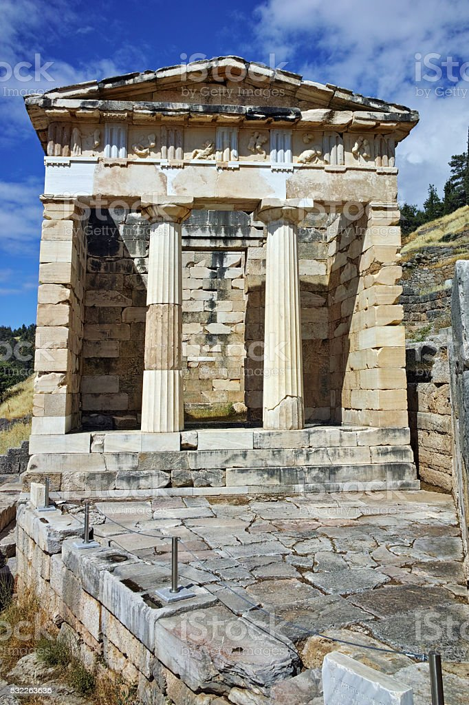 Building of Treasury of Athens in Delphi, Central Greece stock photo