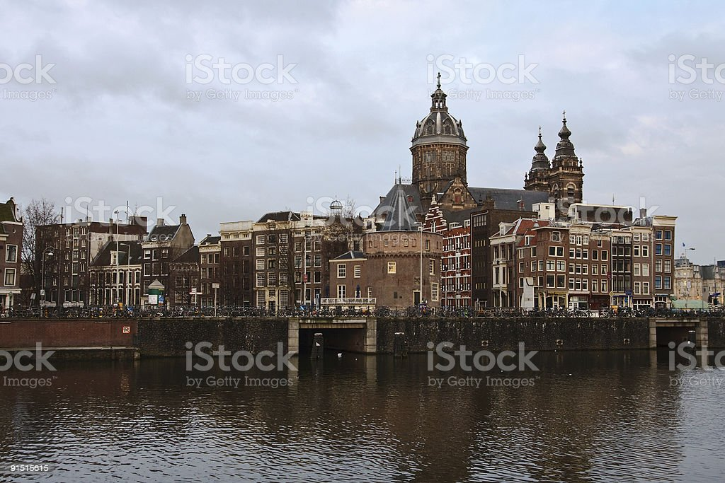 Building on Amsterdam canal royalty-free stock photo