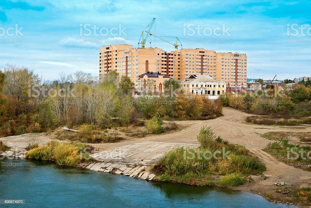 Building on banks of the River Ural, Orenburg stock photo