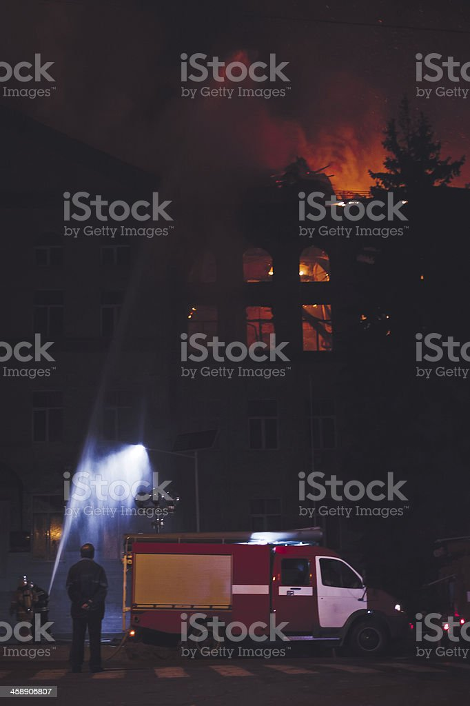 Building On Fire At Night royalty-free stock photo