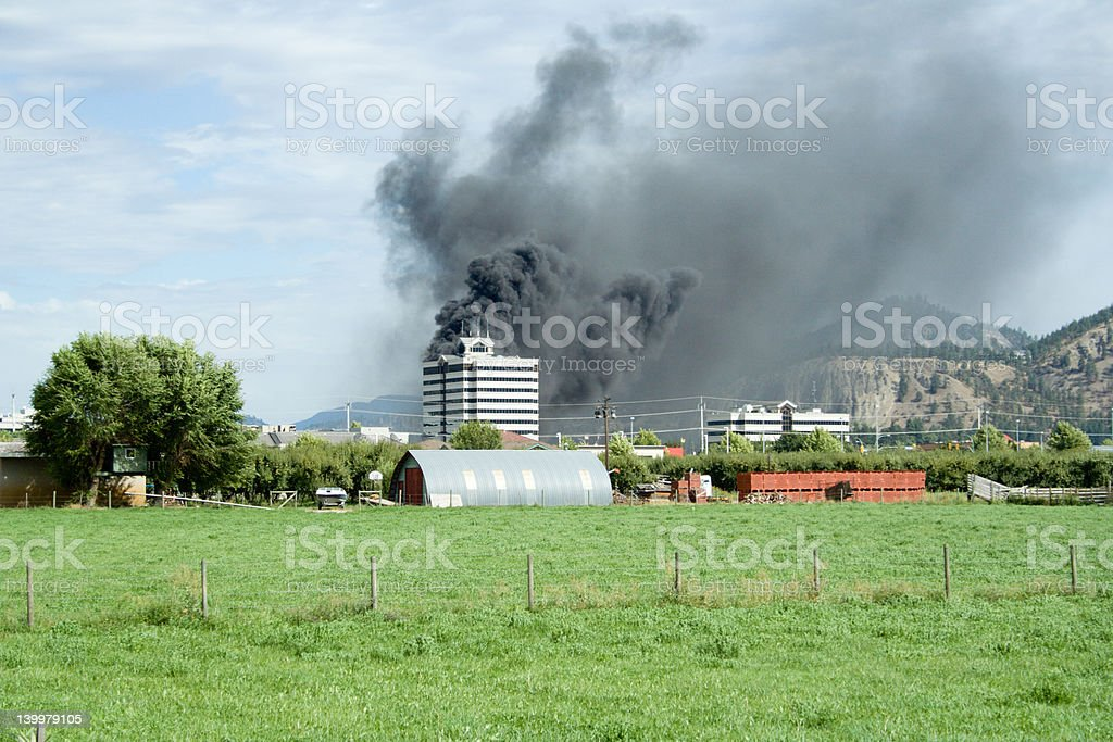 Building on fire royalty-free stock photo