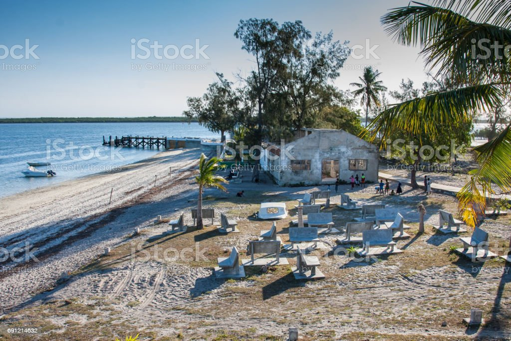 building on IBO island in Mozambique stock photo