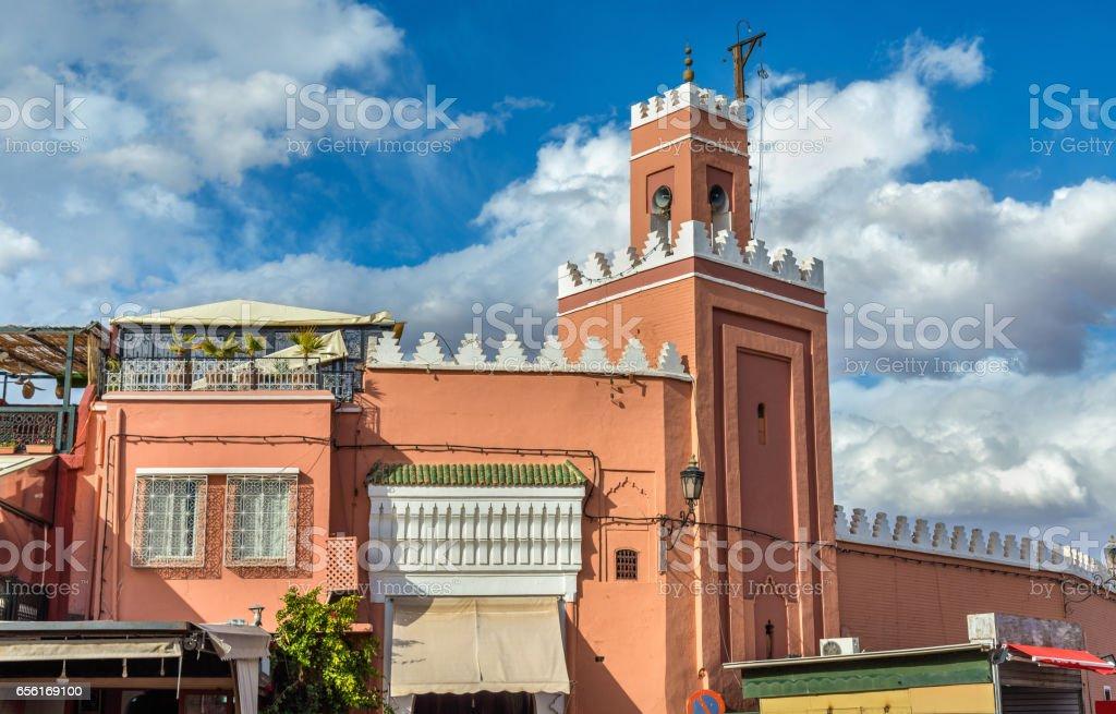Building on Jamaa el Fna Square in Marrakesh, Morocco stock photo