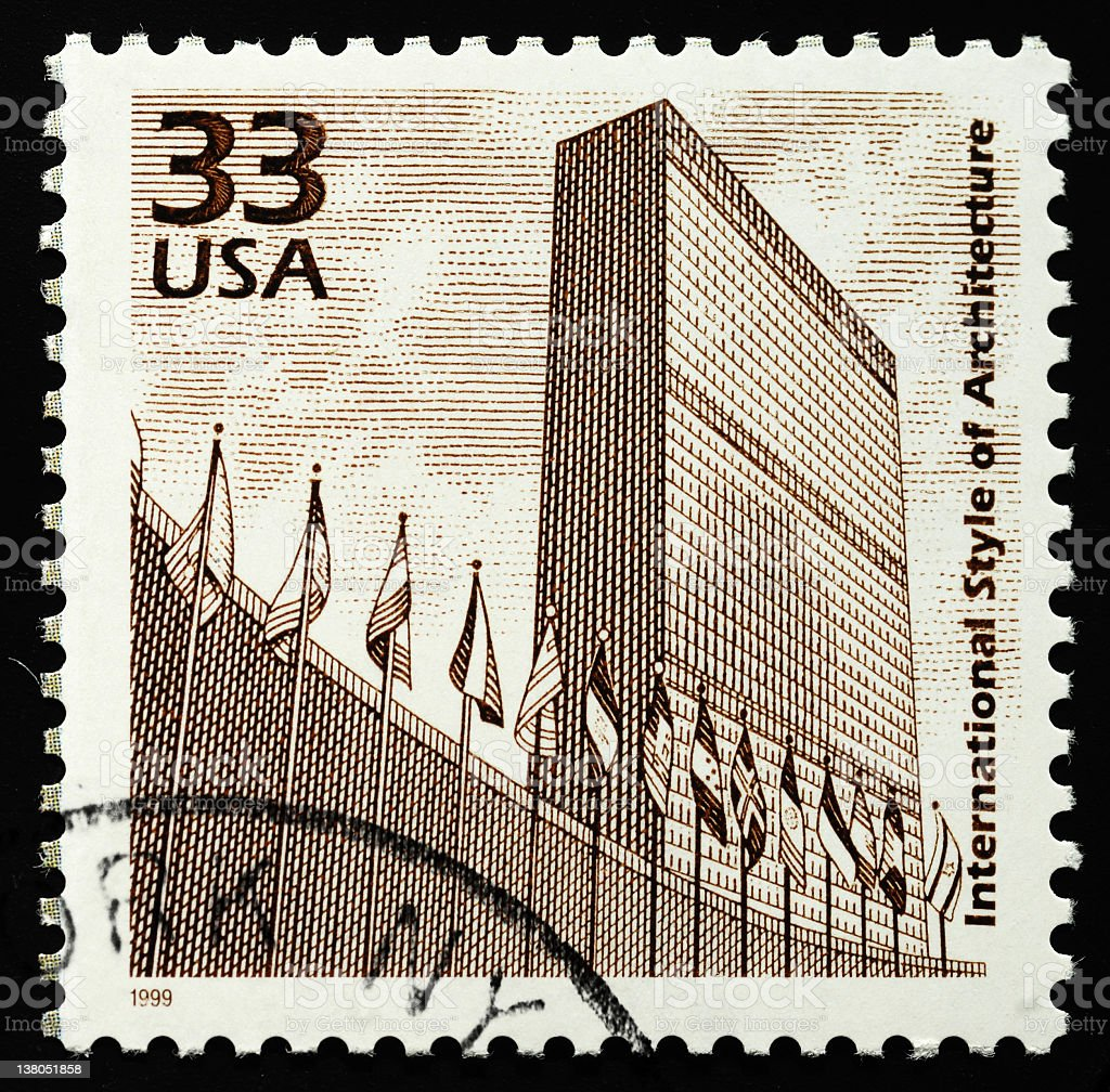 UN building on stamp royalty-free stock photo
