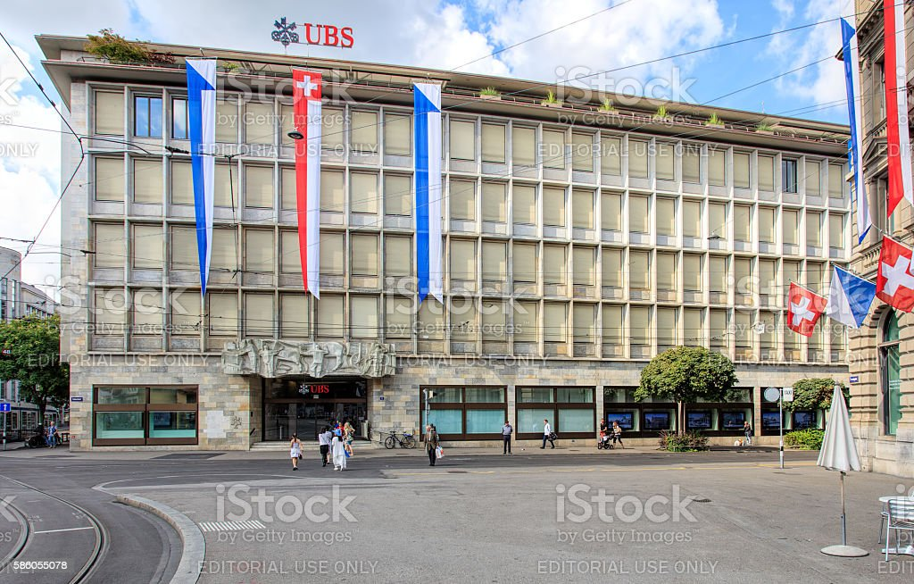 UBS building on Talacker street in Zurich, Switzerland stock photo
