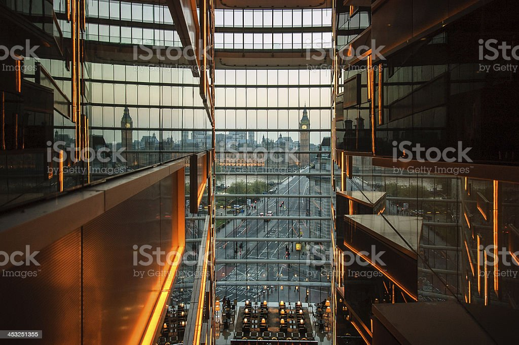Building onlooking Big Ben and Houses of Parliament, London stock photo