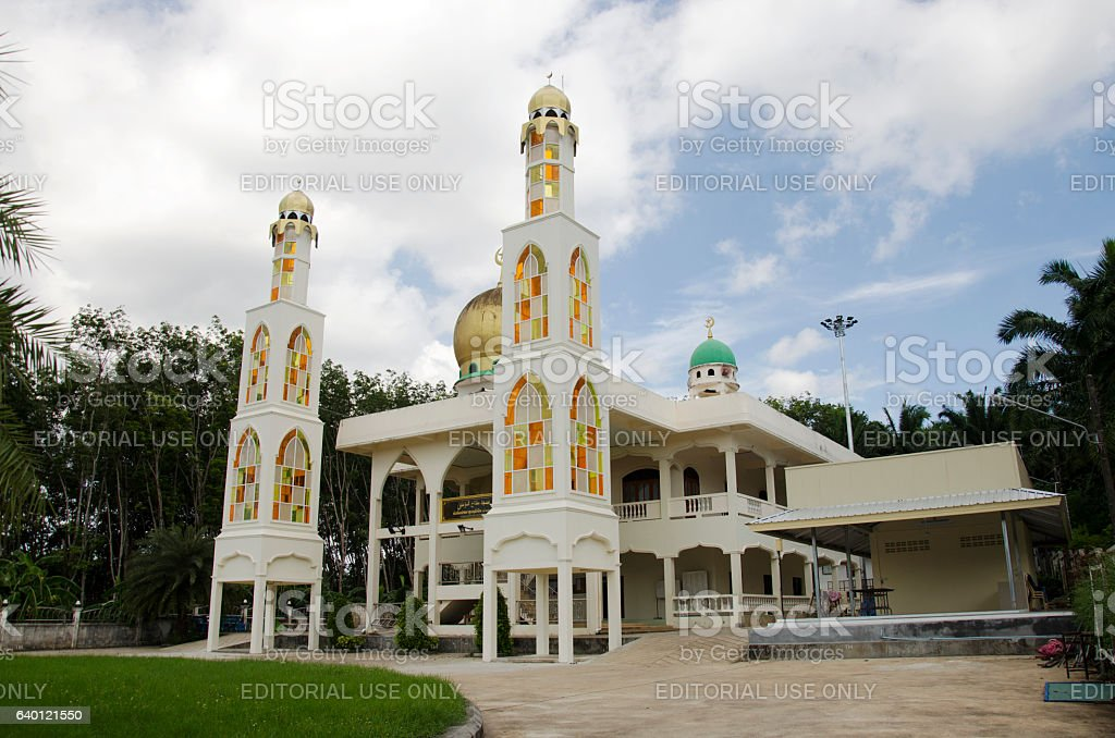 Building Pak Cheed Masjid or Miftahul Mumineen Mosque stock photo