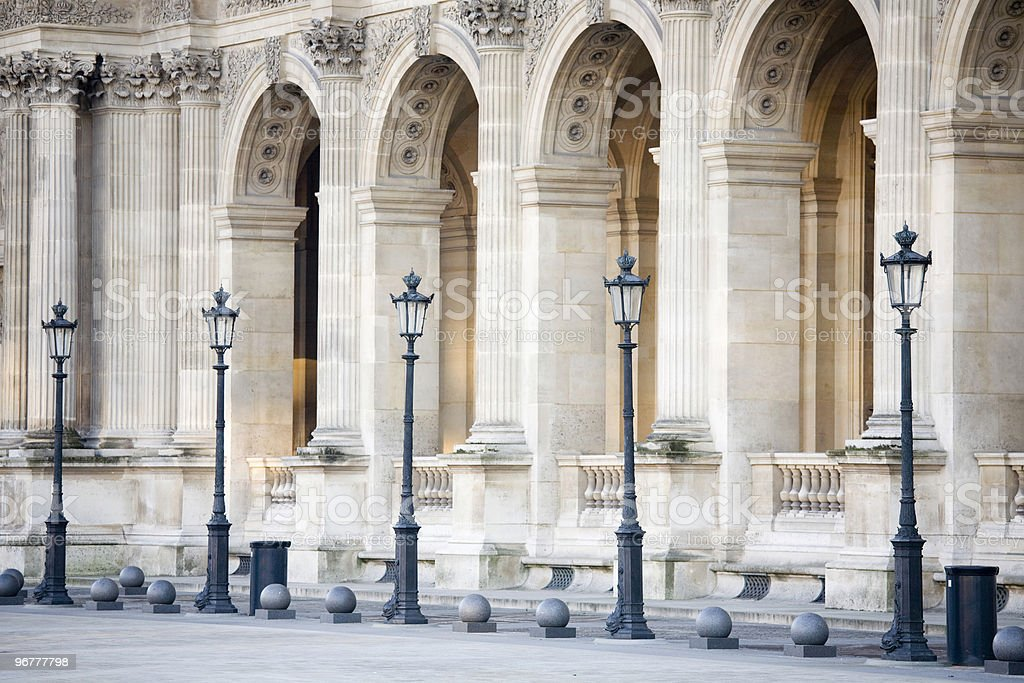 Building Pillars and lights at the Louvre, Paris, France stock photo