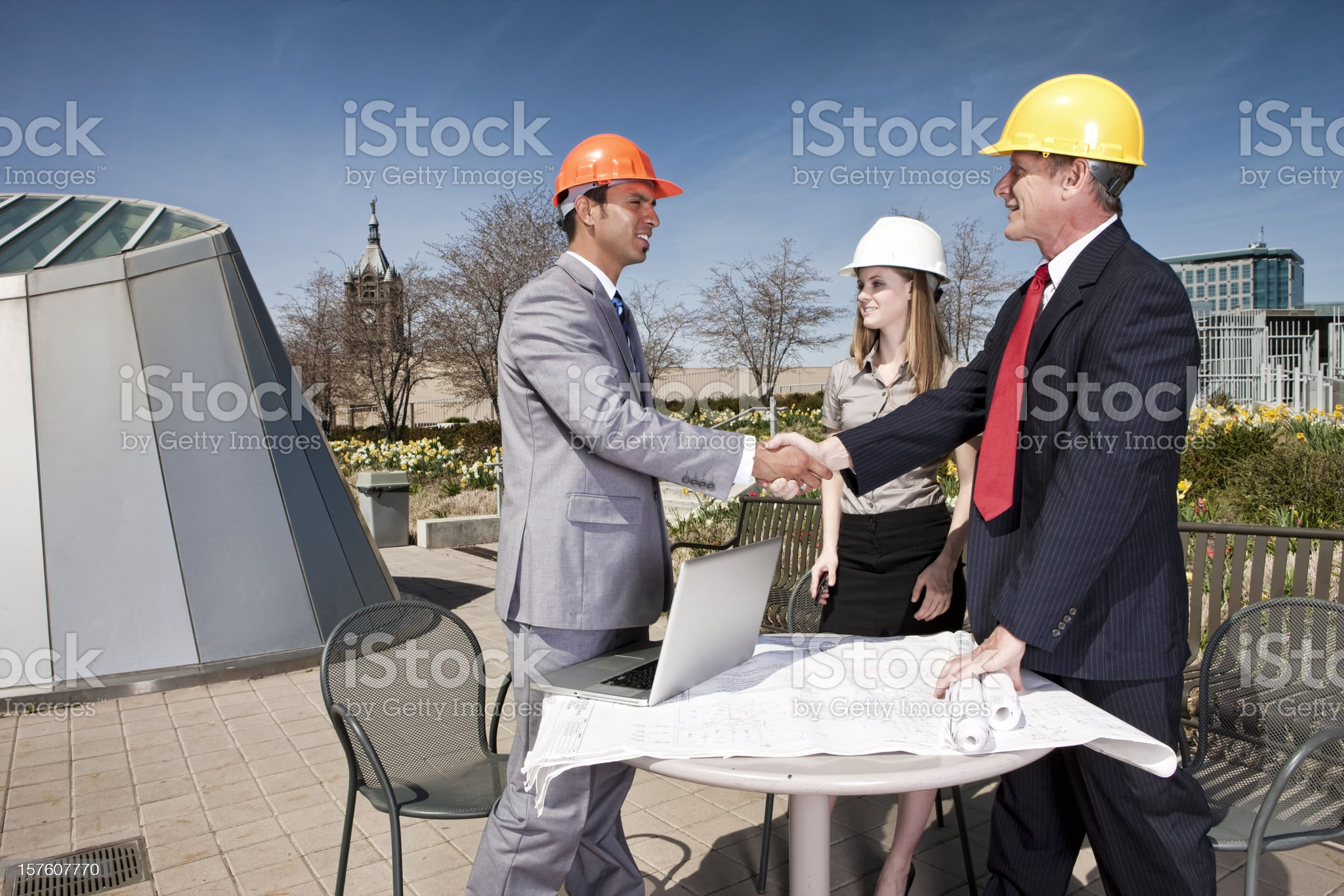 Building Planners Seal the Deal royalty-free stock photo