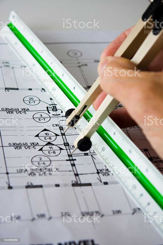 Building plans in Spanish royalty-free stock photo
