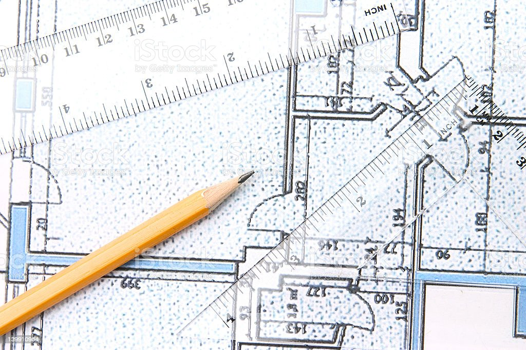 Building plans stock photo