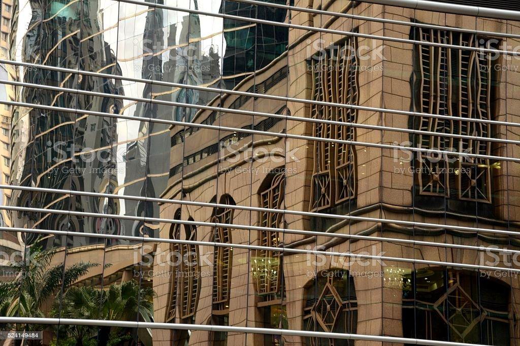 Building reflections in Sheung Wan, Hong Kong stock photo