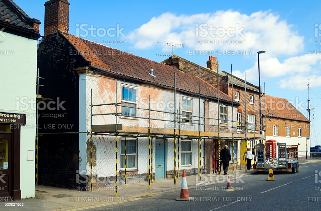 Building renovations in Wells-next-the-Sea, Norfolk stock photo
