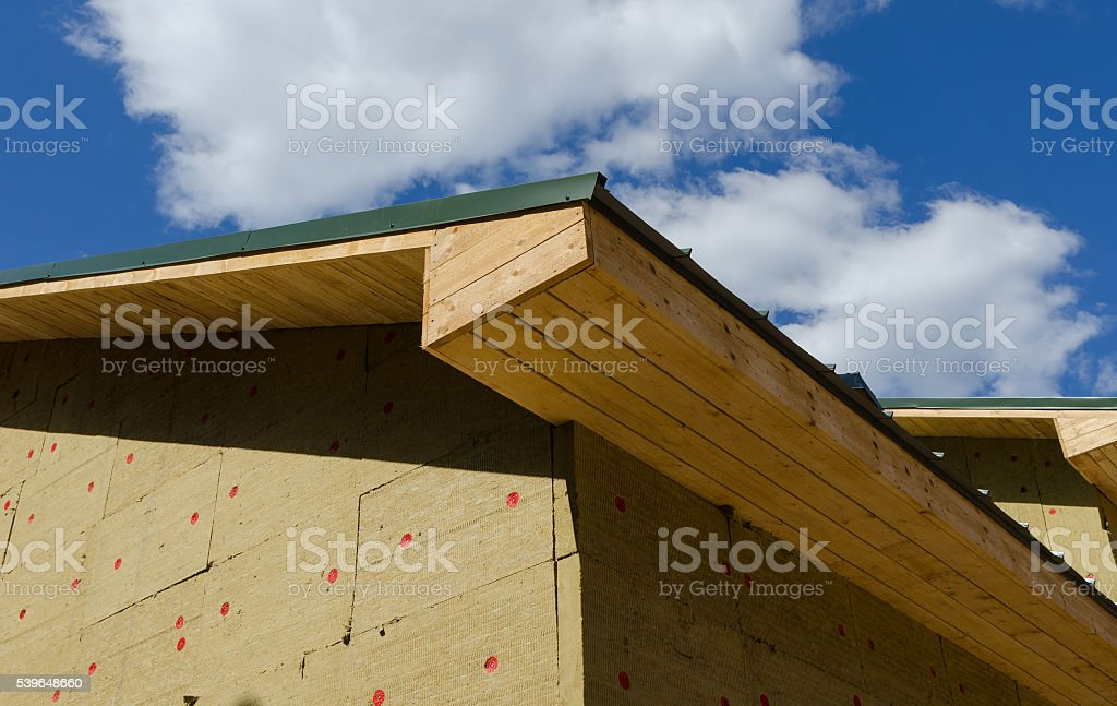 building roof and wall with Styrofoam Sheet Insulation stock photo