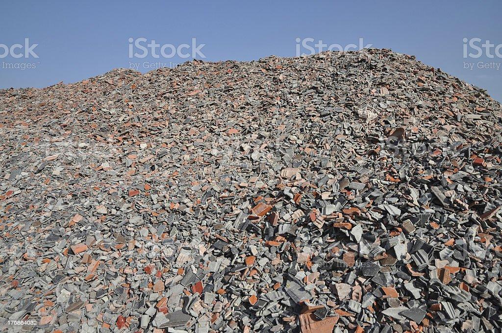 building rubble dump stock photo