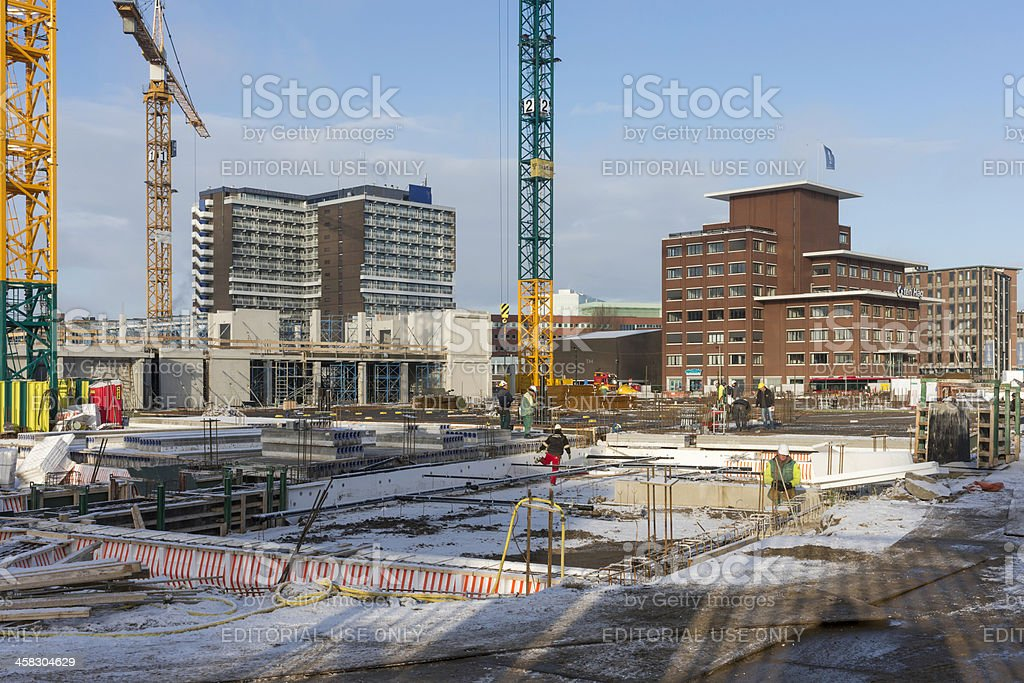 Building site downtown Enschede stock photo