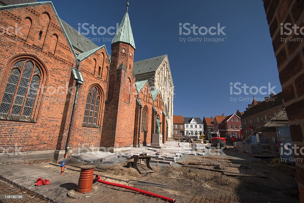Building site round the cathedral stock photo
