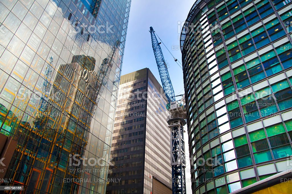 Building site with cranes in the City of London stock photo