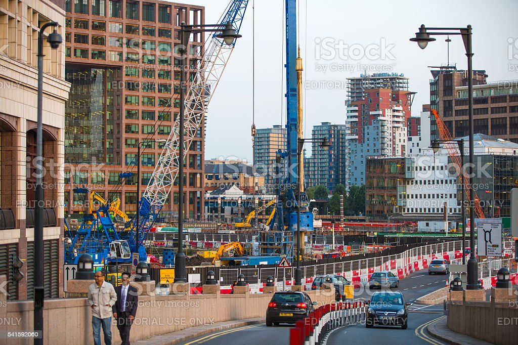 Building sites with cranes at Canary Wharf, London stock photo