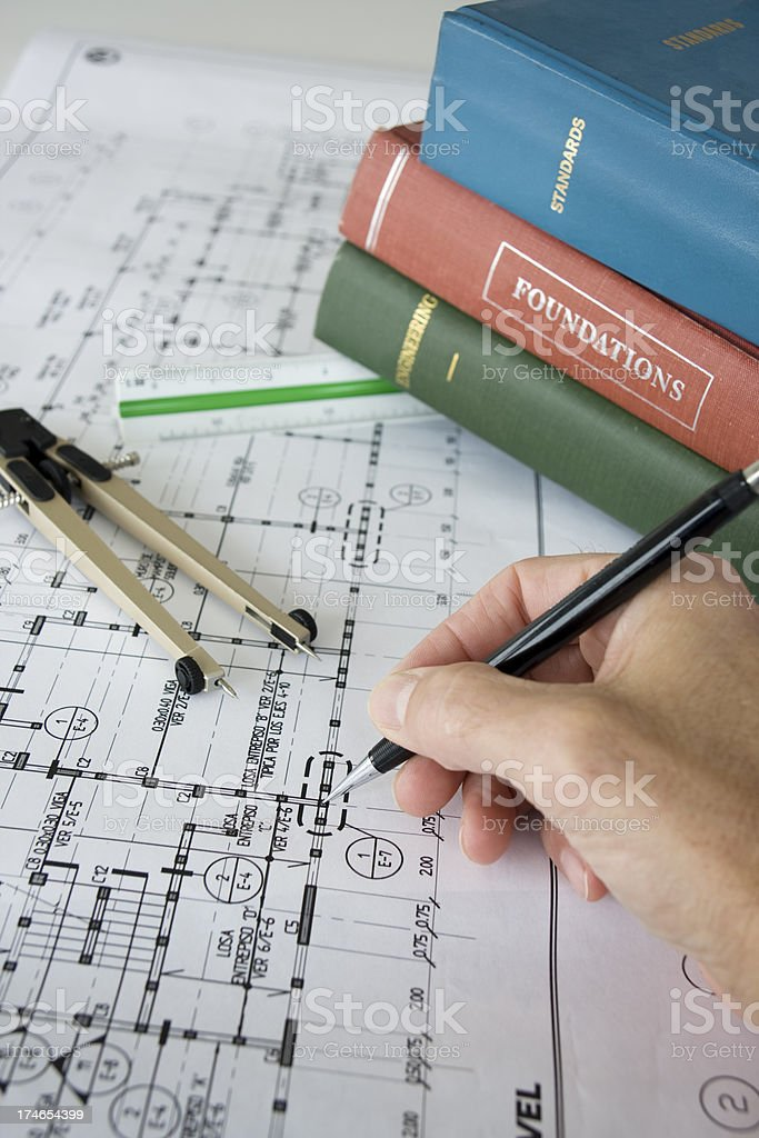 Building structure calculations in Spanish royalty-free stock photo