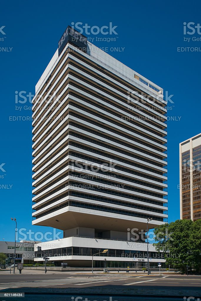 IBM building surrounded by high density buildings stock photo