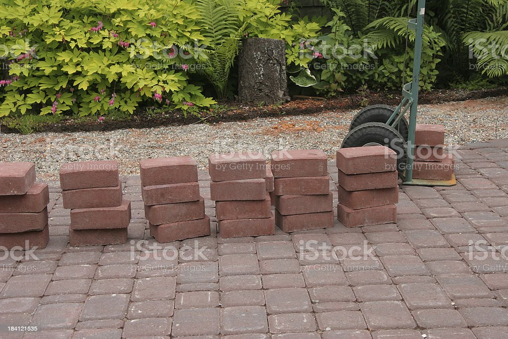 Building The Brick Patio and Sidewalk stock photo