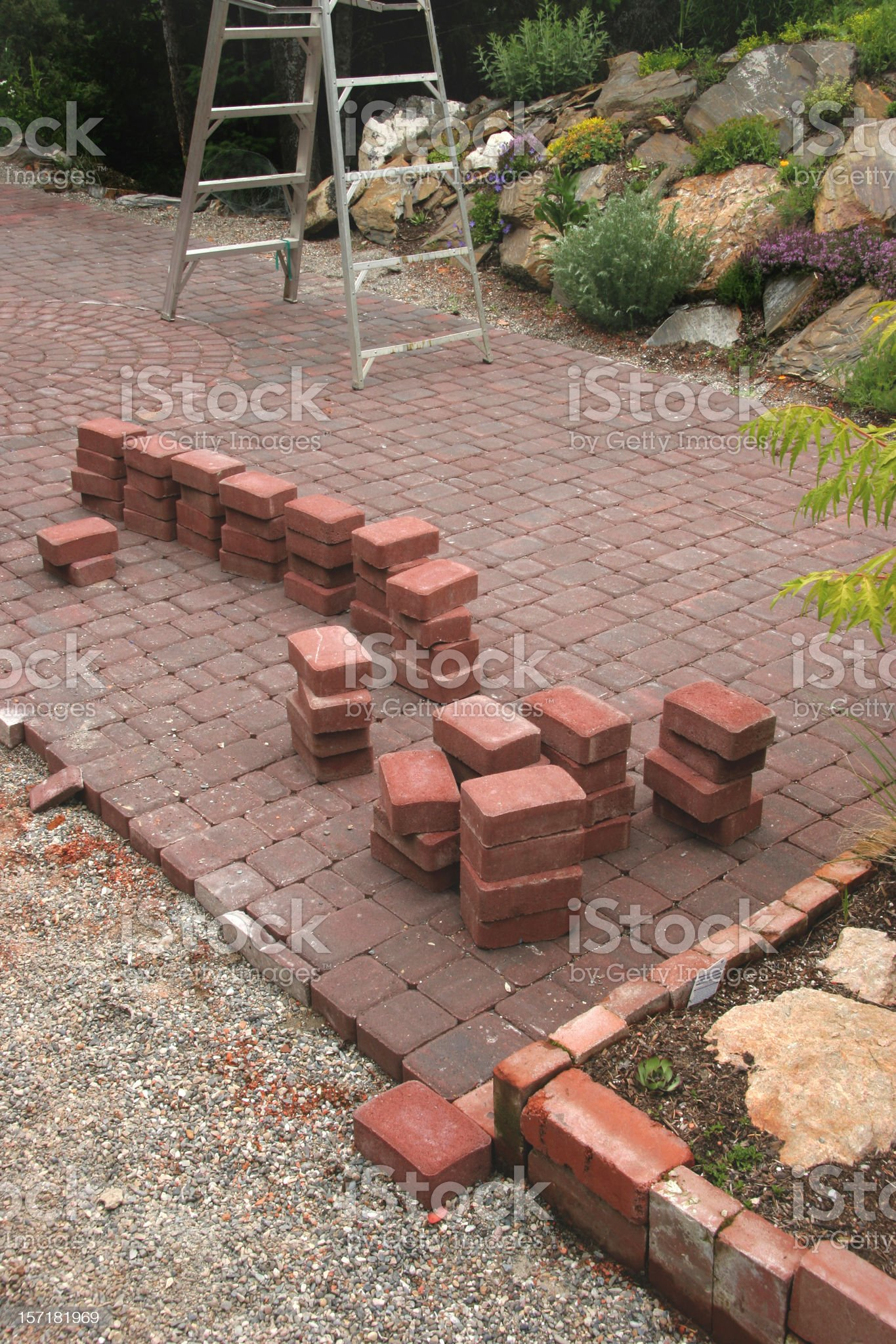 Building The Patio With Bricks royalty-free stock photo