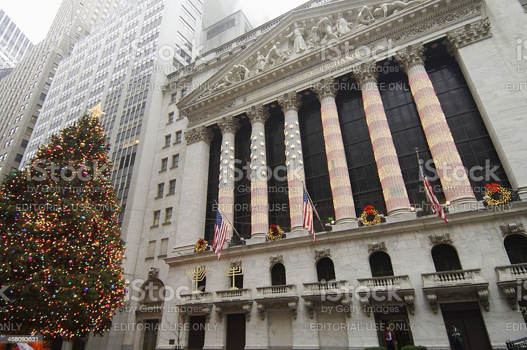 Building the Stock Exchange at Christmas royalty-free stock photo