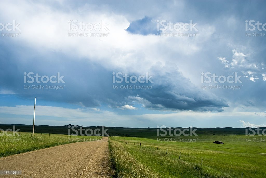 Building thunderstorm over pasture stock photo