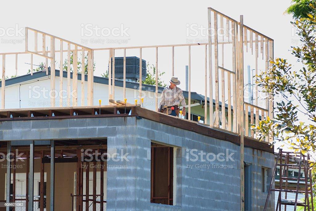 Building timber frame stock photo