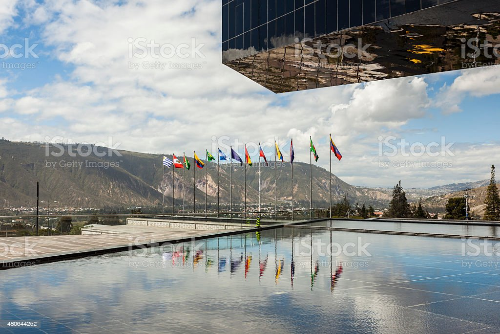 POMASQUI, ECUADOR - APRIL 15:  Building UNASUR stock photo