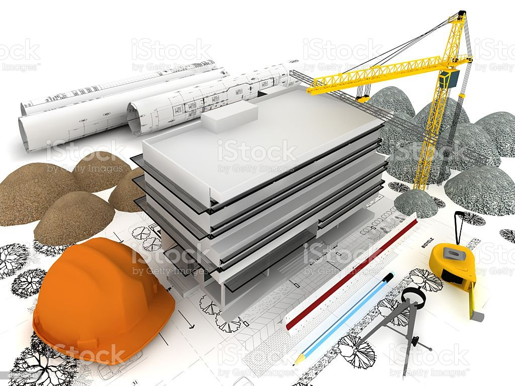Building under construction with crane, on top of blueprints royalty-free stock photo