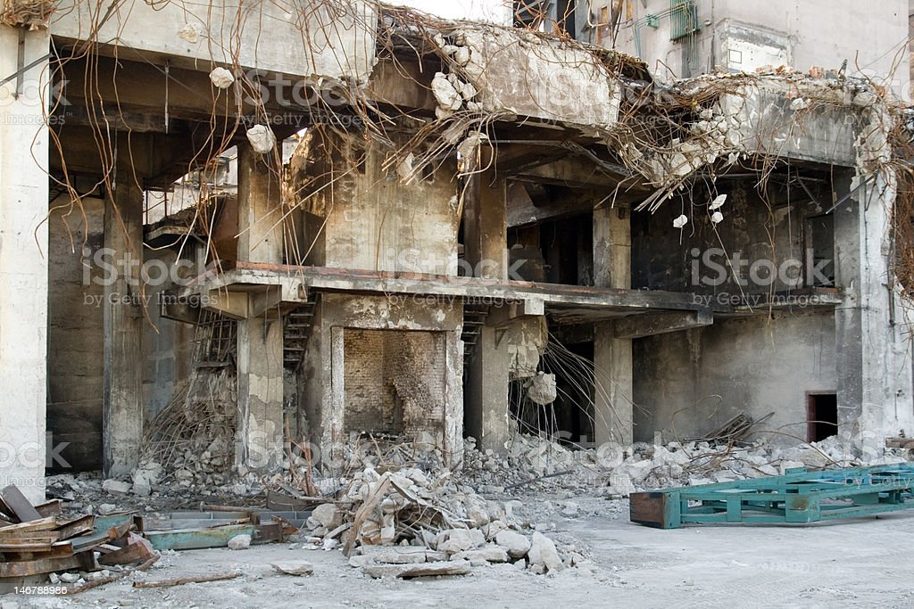 building under demolition royalty-free stock photo
