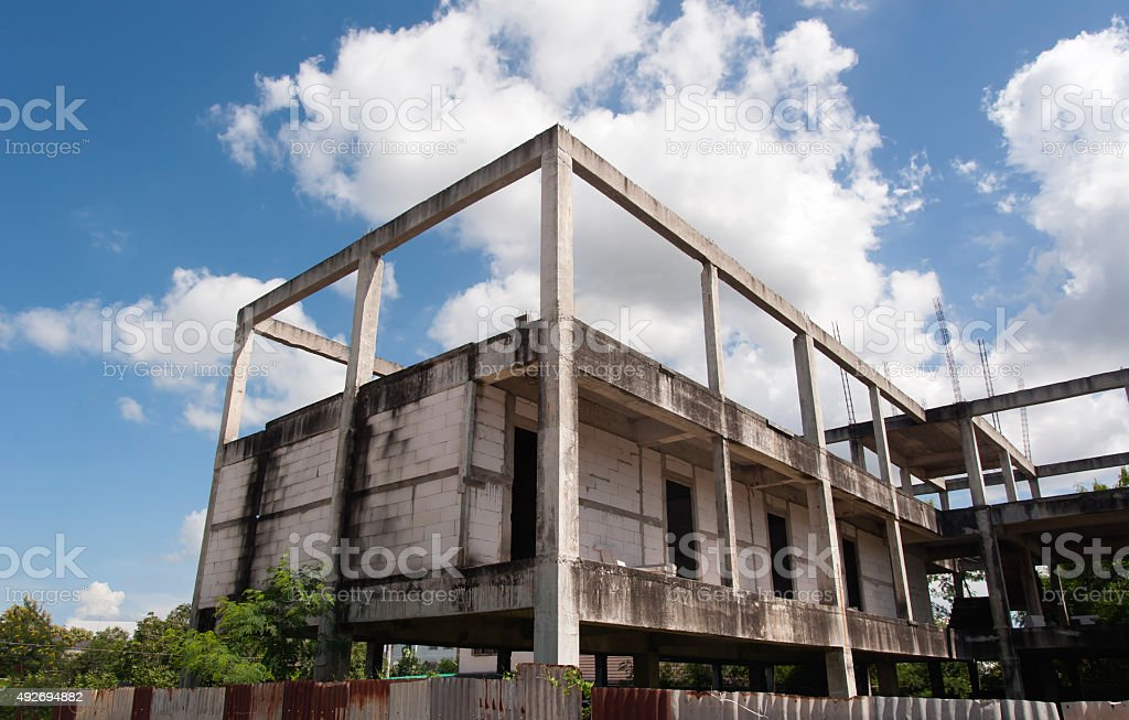 building where construction is not completed stock photo