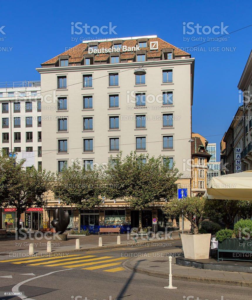 Building with a sign of Deutsche Bank in Geneva, Switzerland stock photo