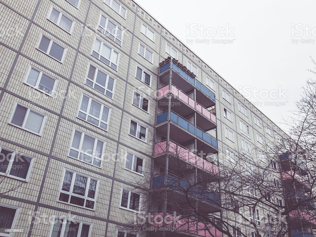 building with balconys stock photo