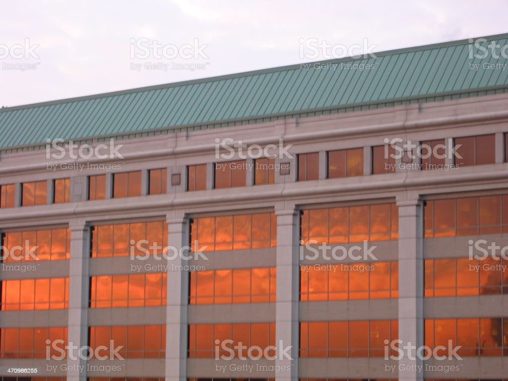 Building With Burning Clouds - B royalty-free stock photo