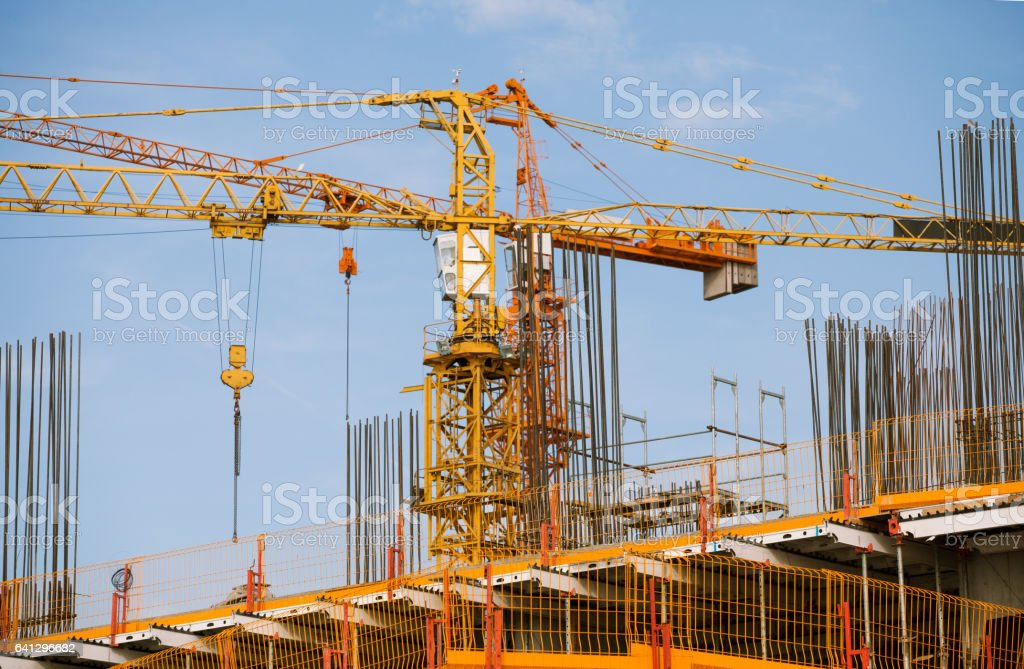 Building with Cranes stock photo
