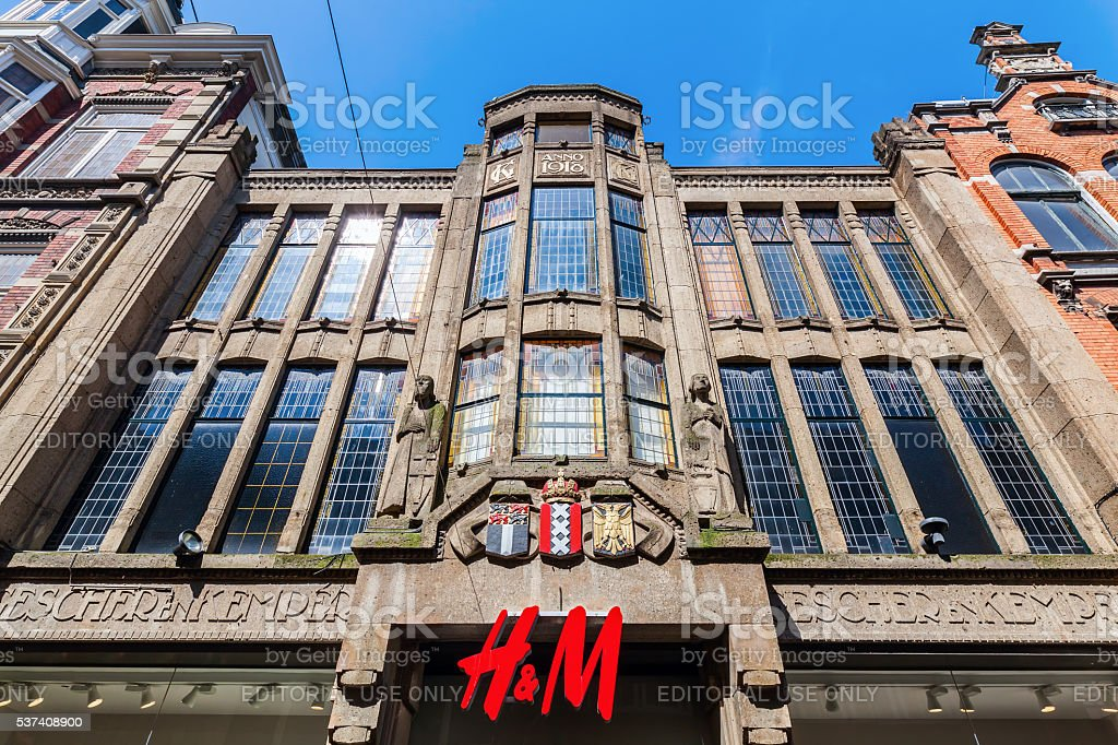 building with Hennes and Mauritz store in The Hague, Netherlands stock photo