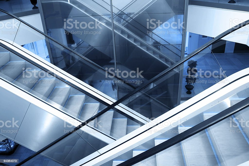 A building with indoor escalators stock photo