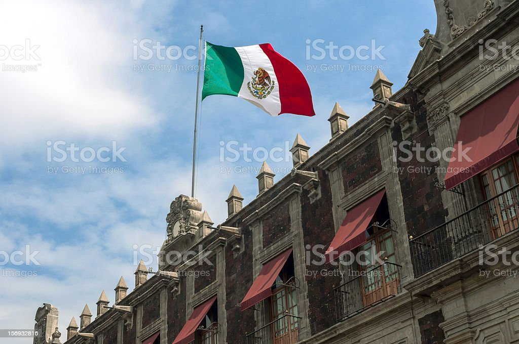 Building with Mexican Flag stock photo