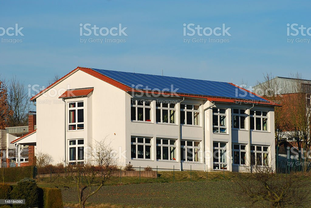 Building with solar panels royalty-free stock photo