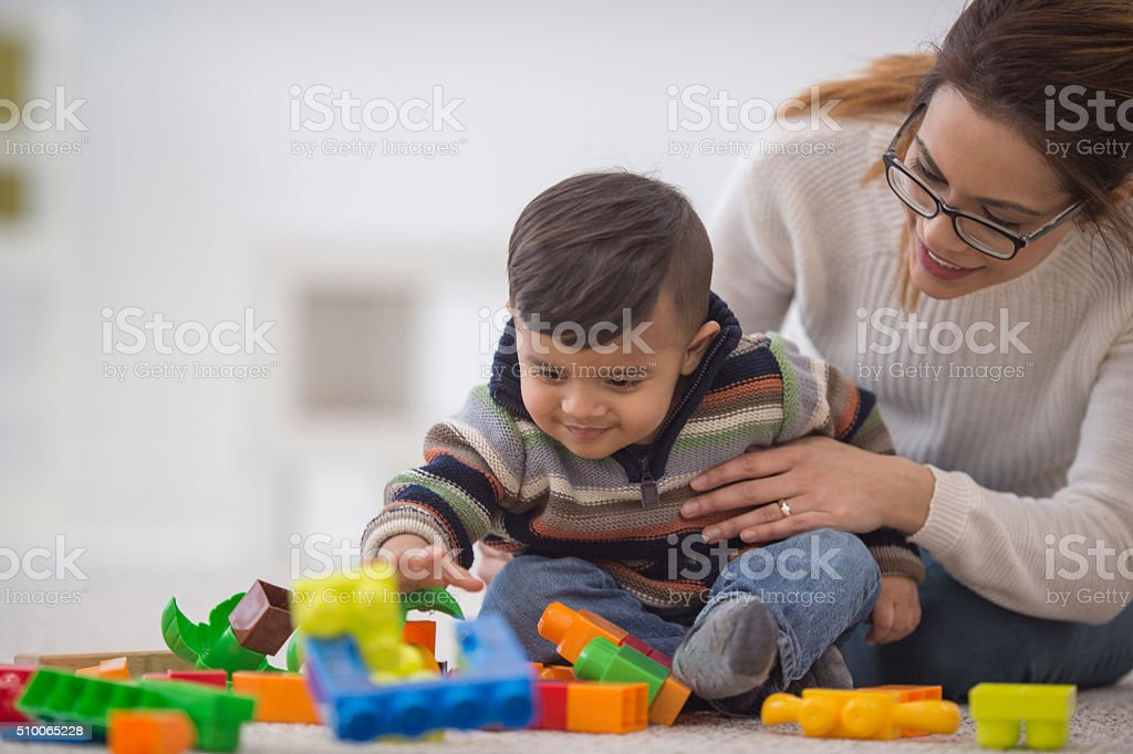 Building with Toy Blocks stock photo