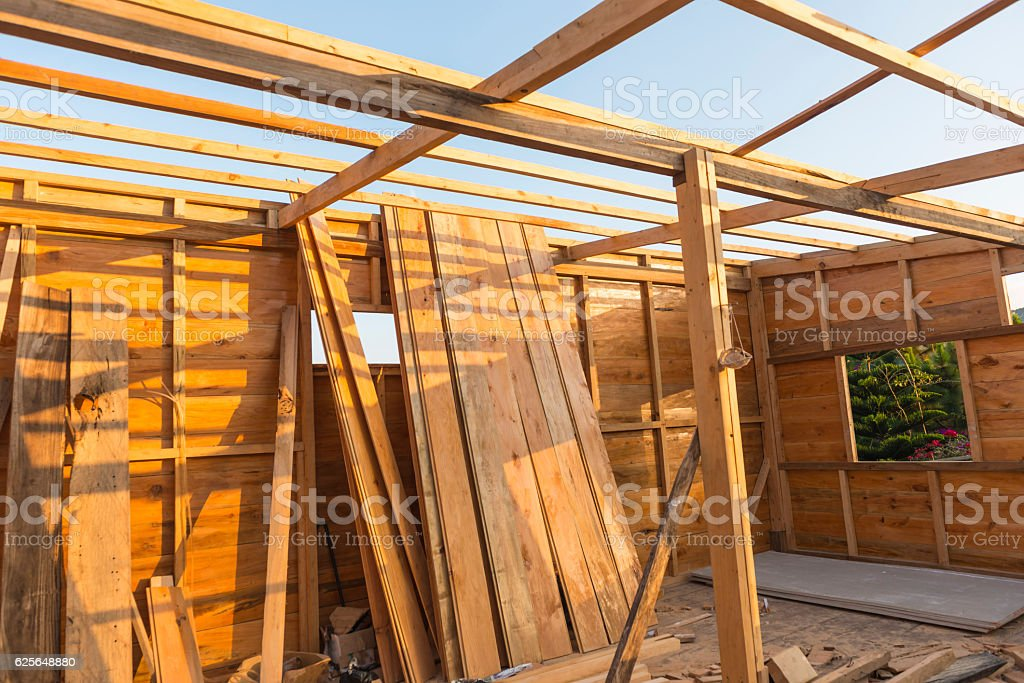 Building wooden house stock photo