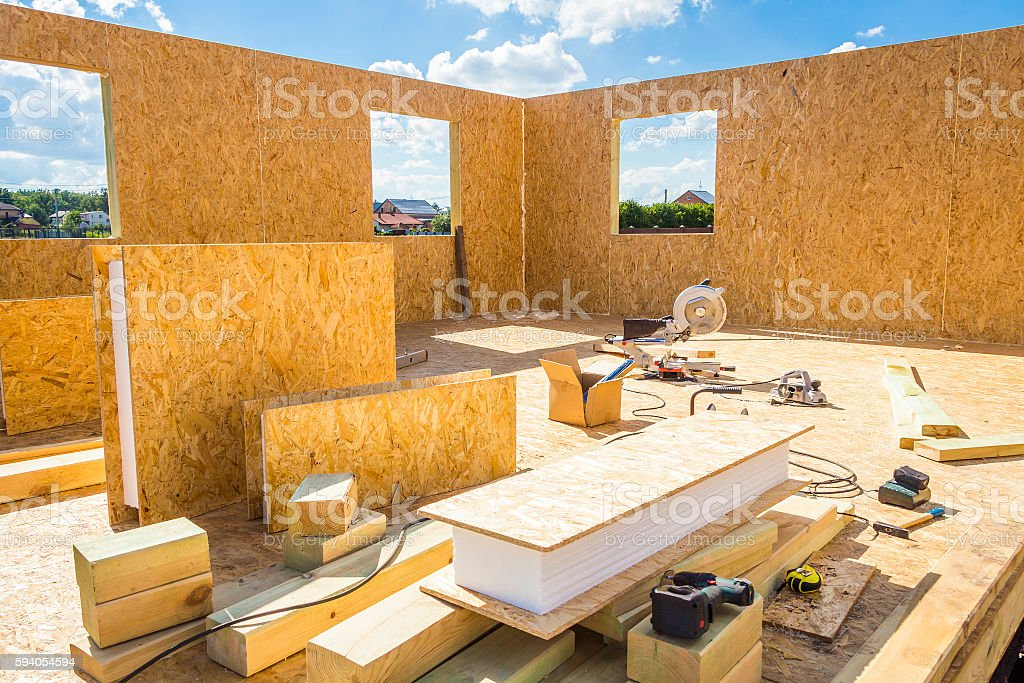 Building wooden houses stock photo