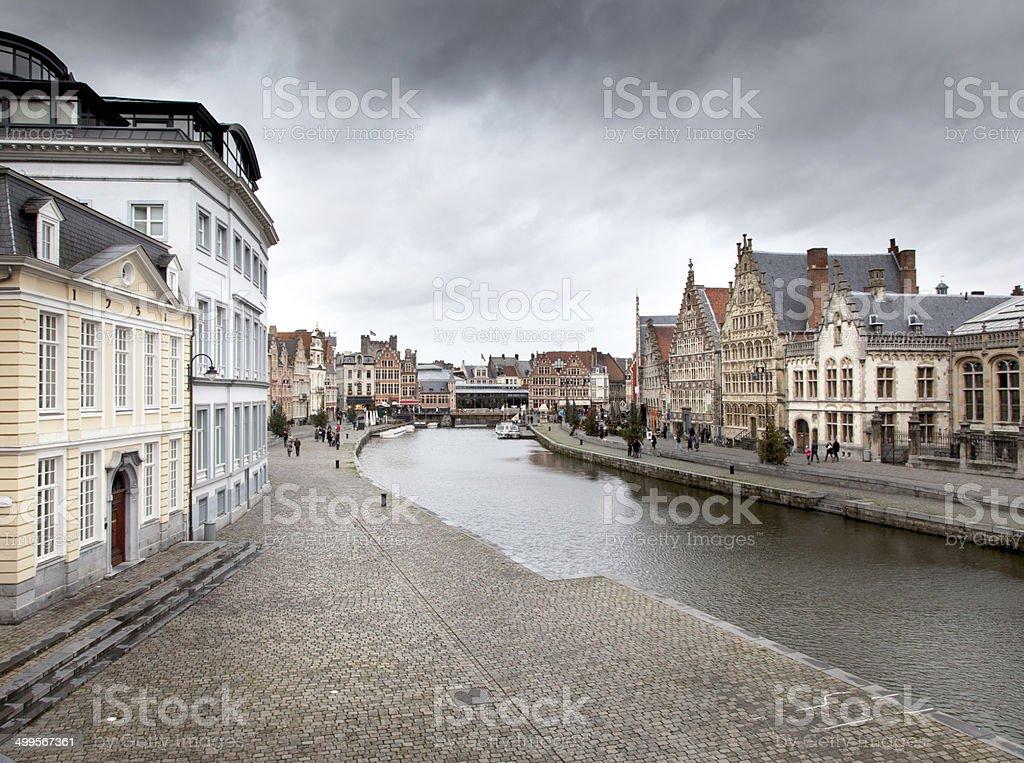 Buildings along a river, River Lys, Ghent, Belgium stock photo