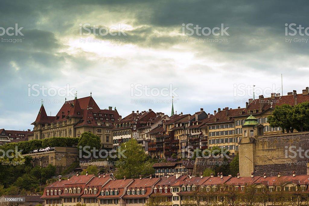 Buildings along Aare River at Bern stock photo