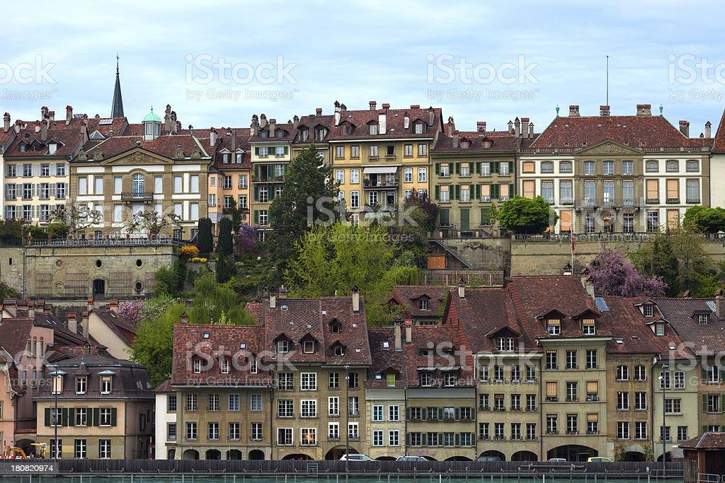 Buildings along Aare River at Bern royalty-free stock photo