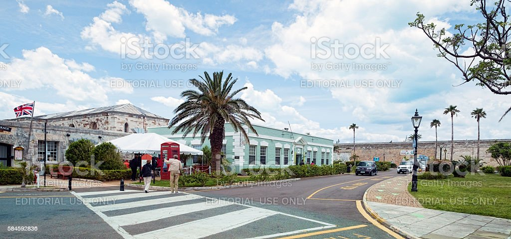 Buildings Along Maritime Lane,  Royal Naval Dockyard, West End, Bermuda stock photo